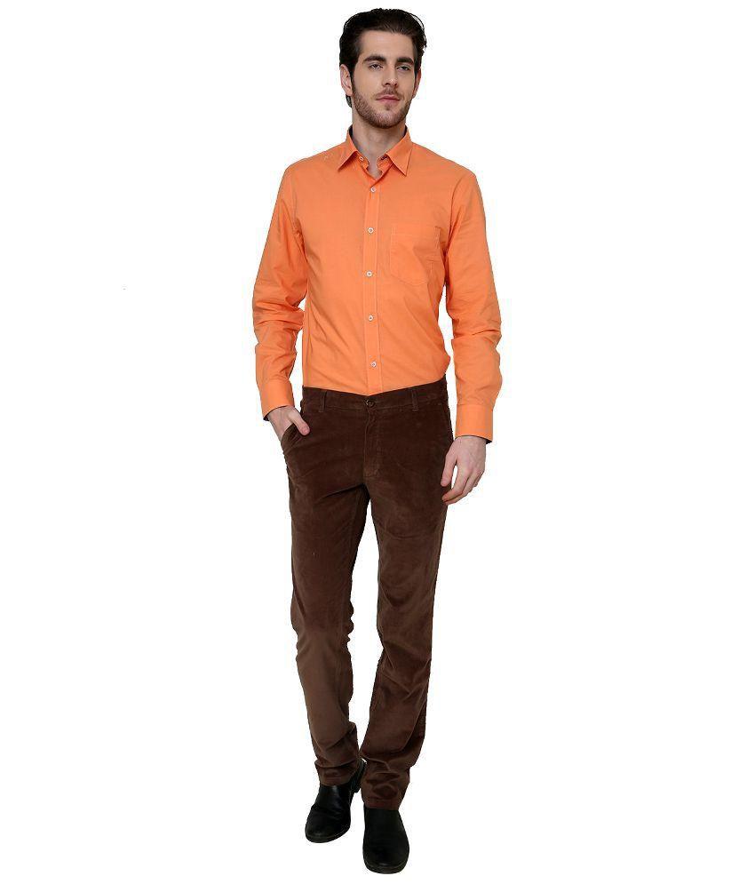 Jadeblue Brown Slim Fit Flat Trousers