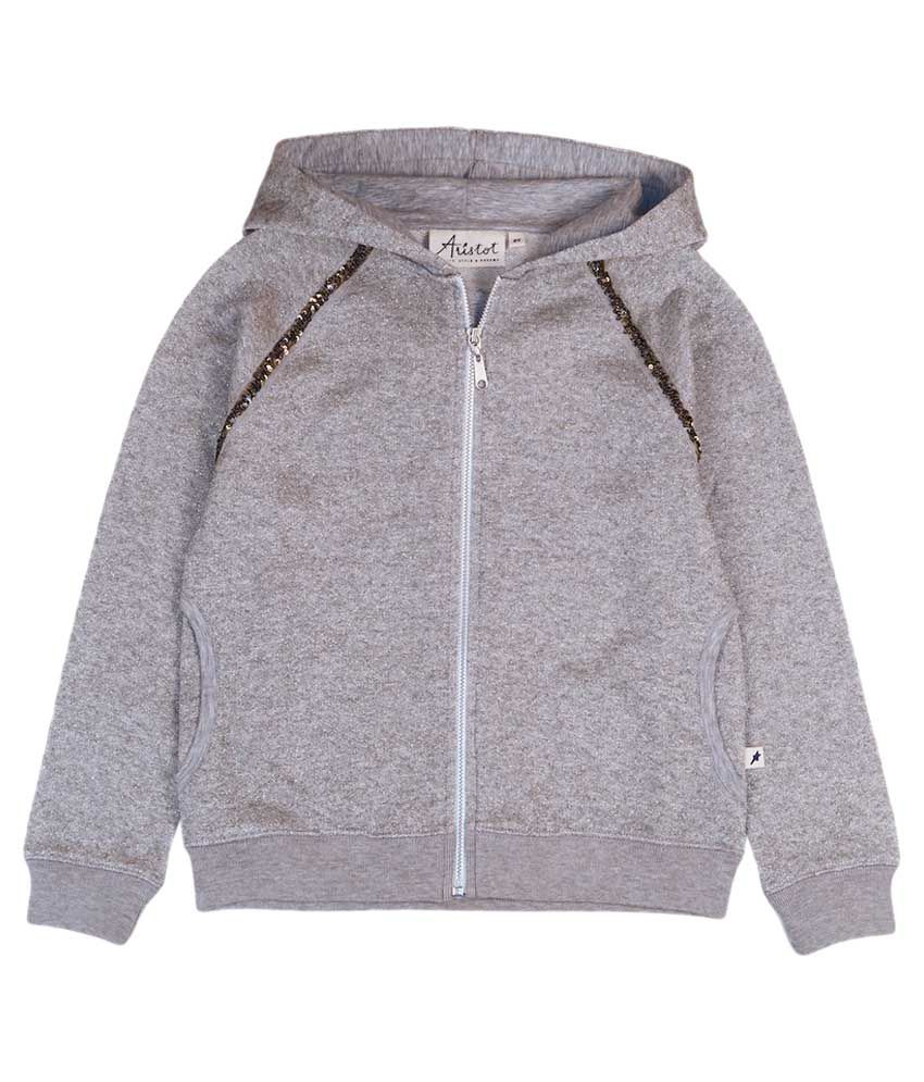 Aristot Grey Cotton with Hood Sweatshirt for kids girls