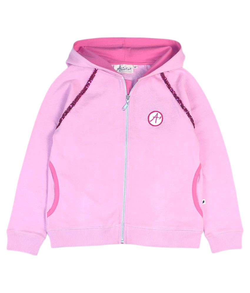 Aristot Pink Sweatshirts with Hood for kids girls