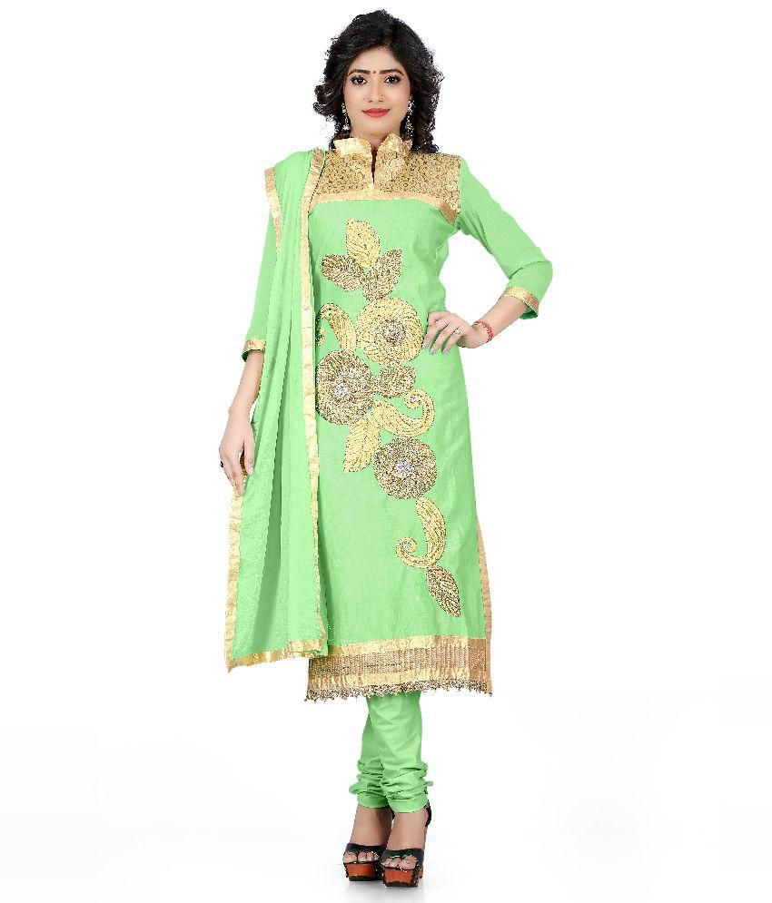 Choclaty Green Cotton Straight Unstitched Dress Material