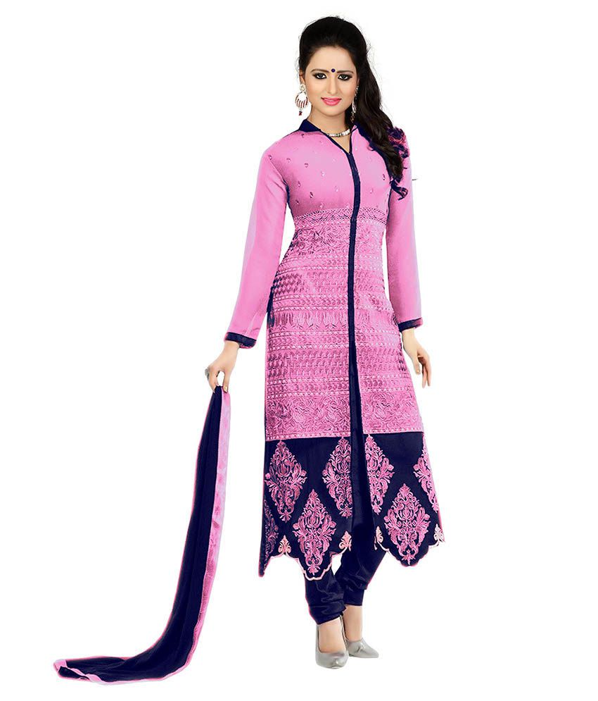 Dhruva Fab Pink Georgette Unstitched Dress Material