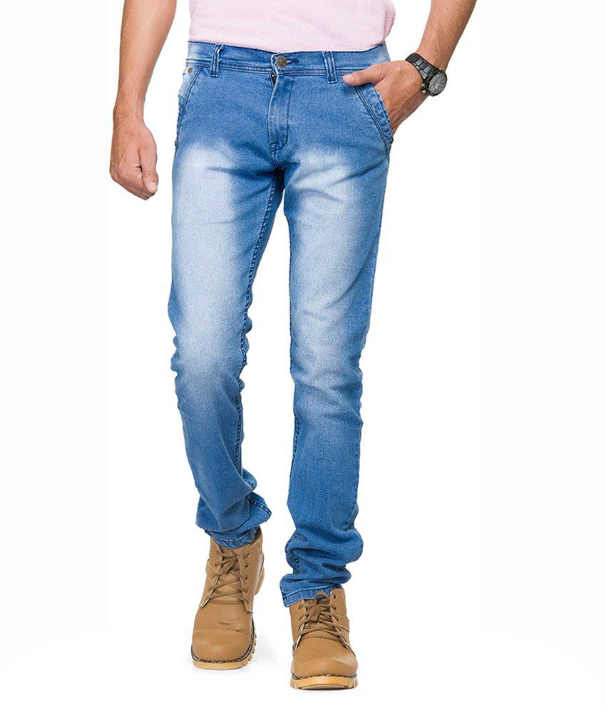 Gr8Onyou Blue Slim Fit Faded Jeans