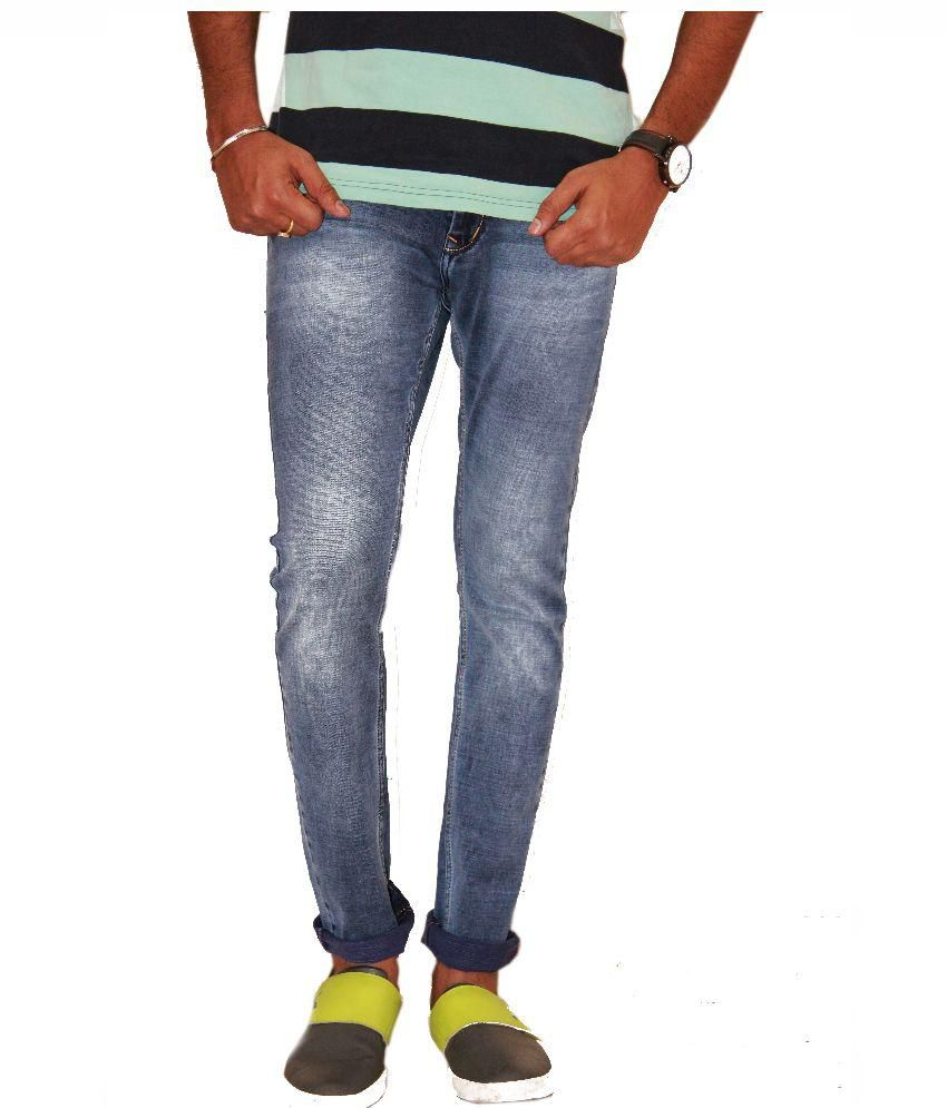 Fiction Blue Regular Fit Faded Jeans