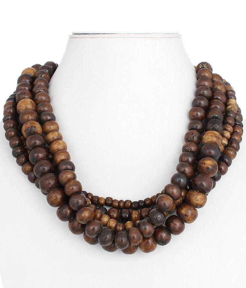 Polinter Brown Wooden Necklace
