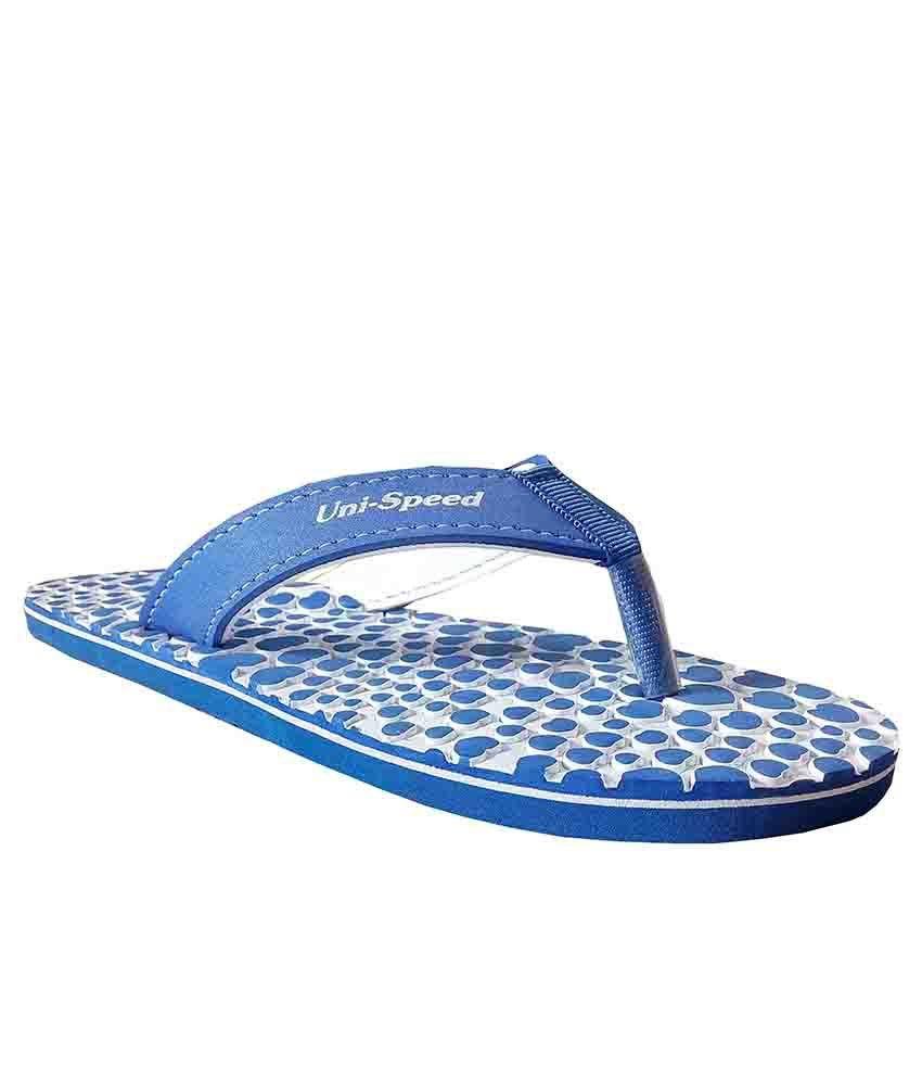 Unispeed Blue Hearts Design Accupressure Flip Flops