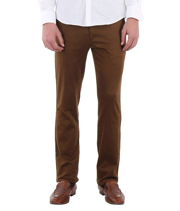 Routeen Khaki Slim Fit Chinos