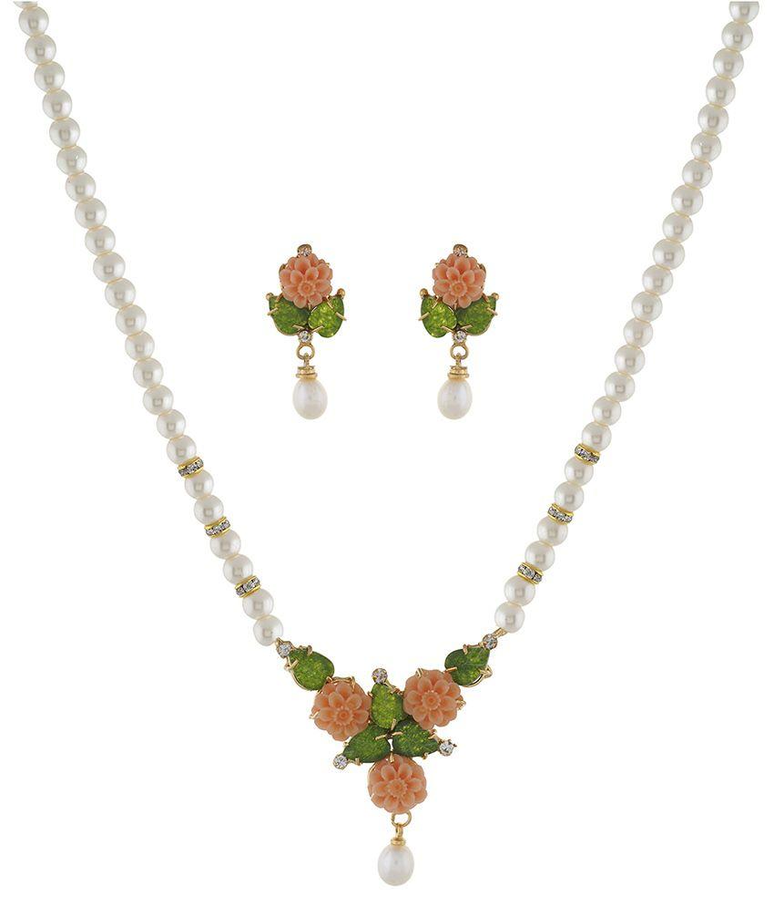 Classique Designer Jewellery Multicolour Alloy Necklace Set