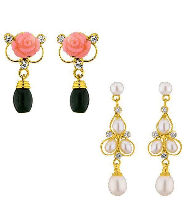 Sri Jagdamba Pearls Multicolor Alloy Pearl Earrings - Set Of 2