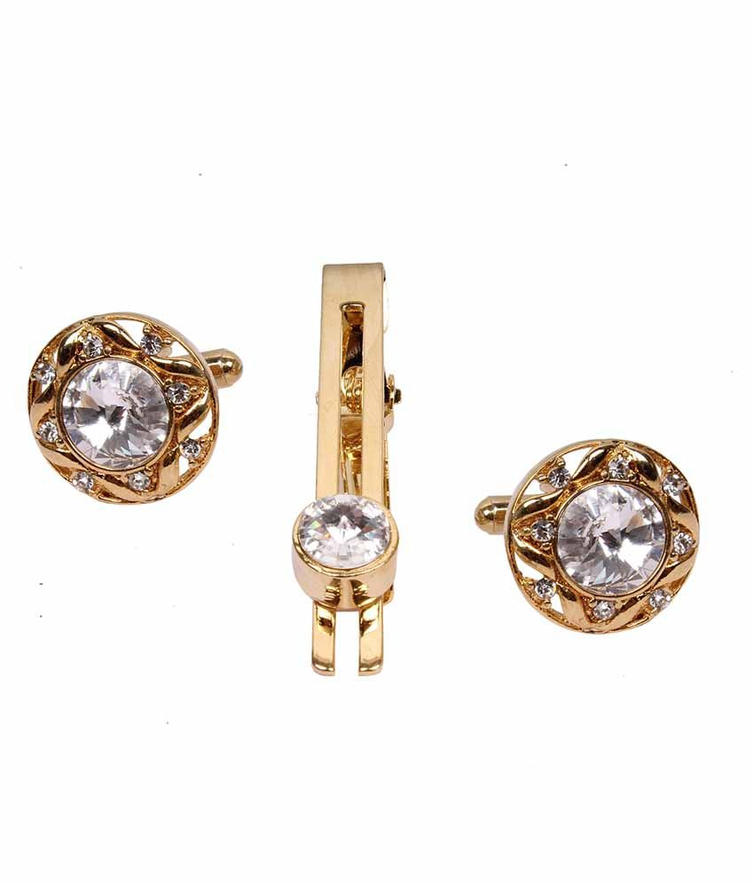 Jstarmart Gold Crystal Party With Tie Pin For Men