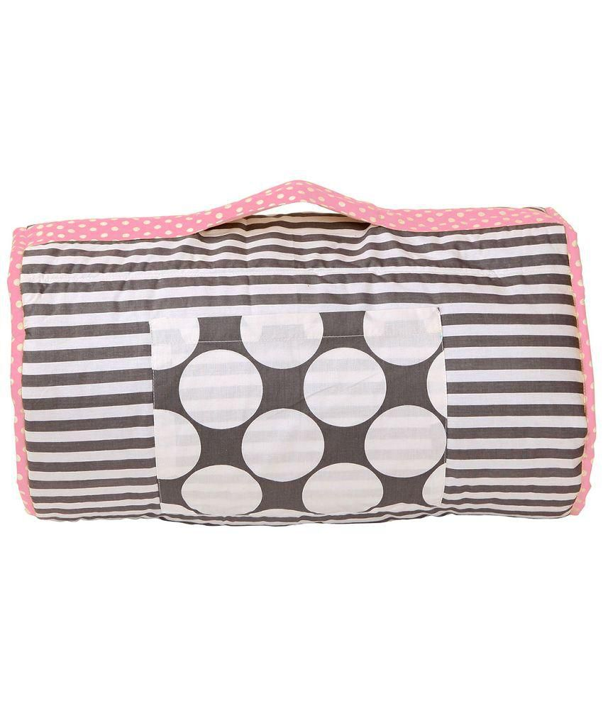 Bacati Grey and Pink Grey Nap Mat Baby Blanket/Baby Swaddle/Baby Wrap