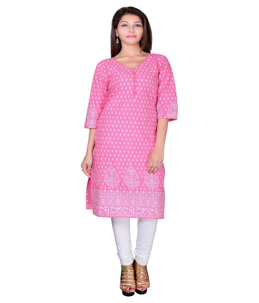 Jaipur Prints Pink Cotton Straight Kurti