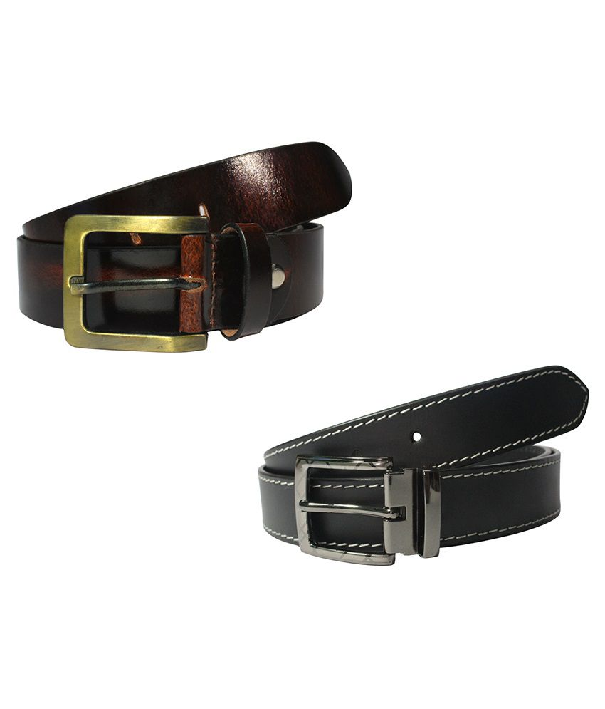 Dywin Black & Brown Leather Belt For Men Pack Of 2