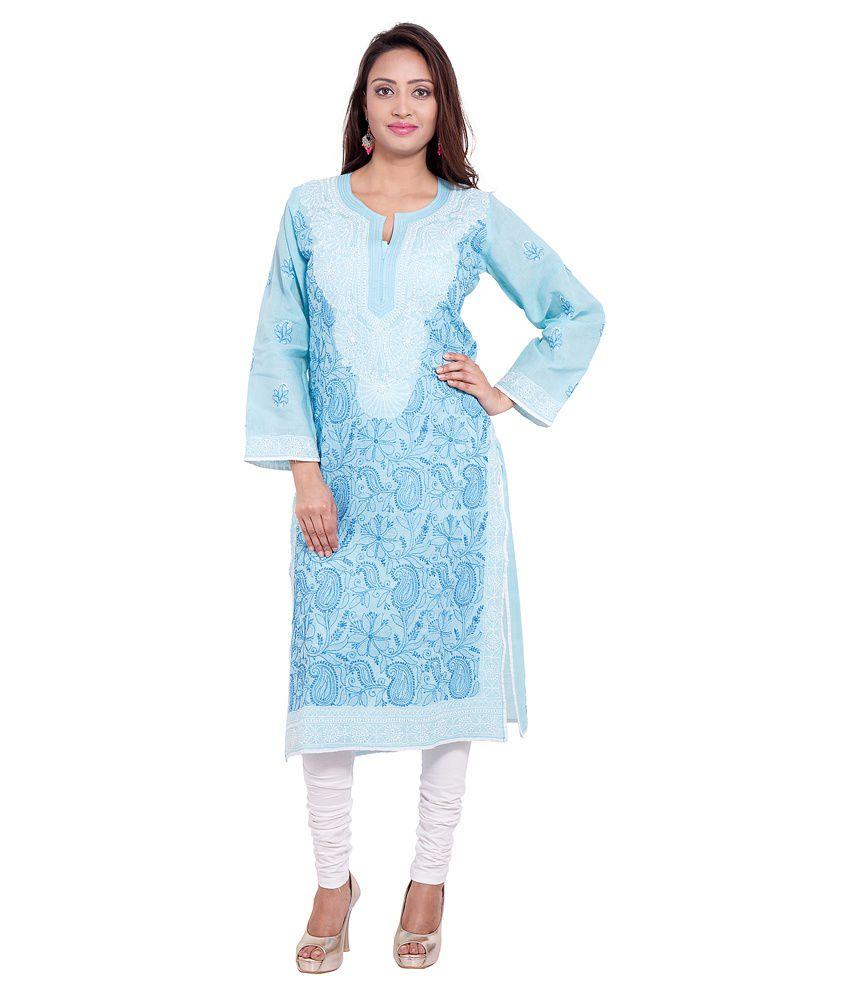 Banyad Blue Cotton Straight Kurti