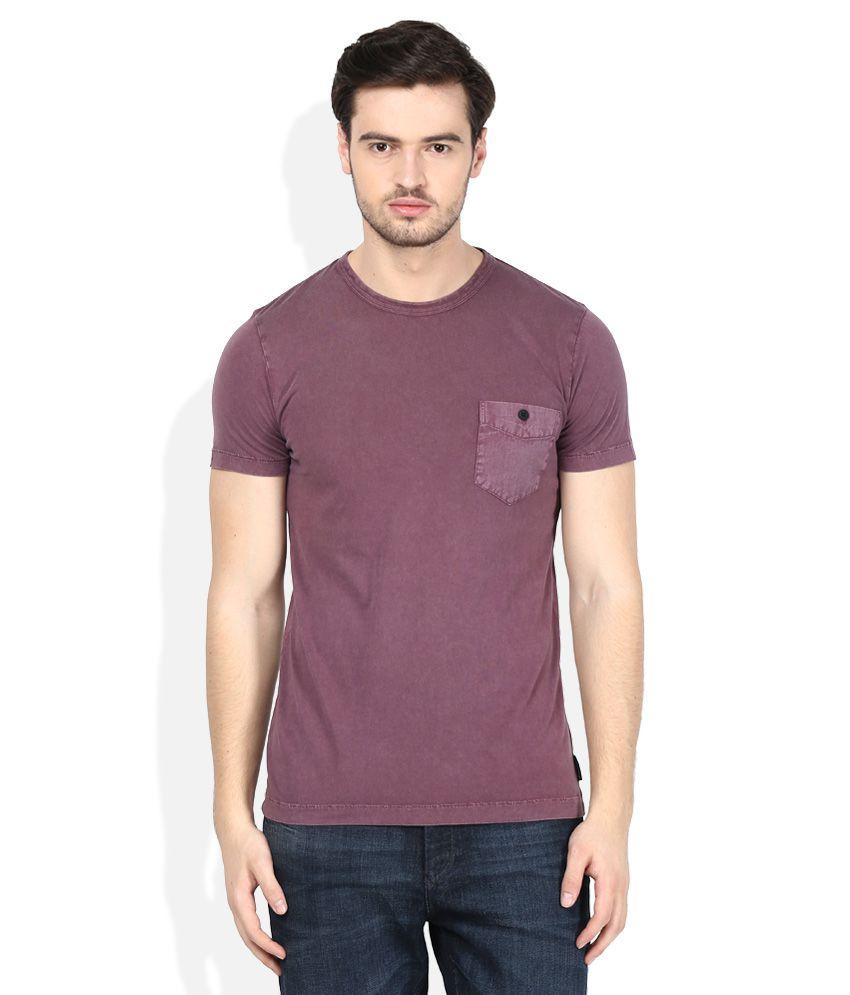 FCUK Maroon Round Neck T-Shirt