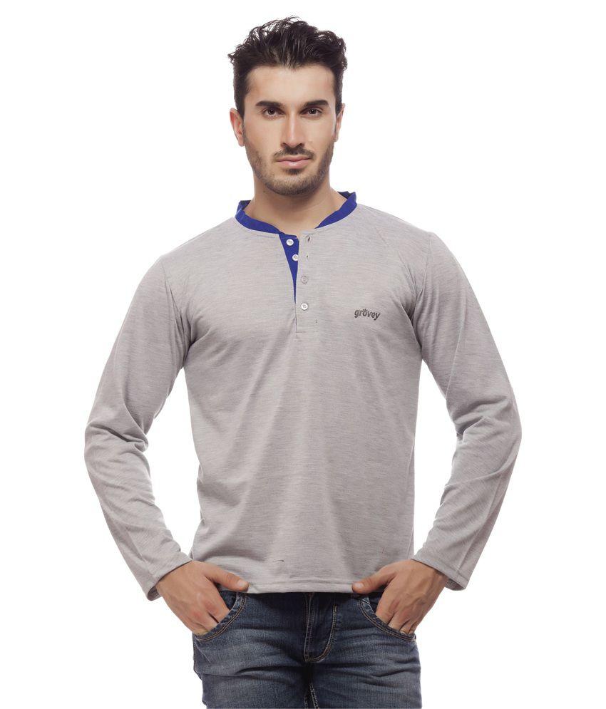 Grovey Grey Henley T Shirts
