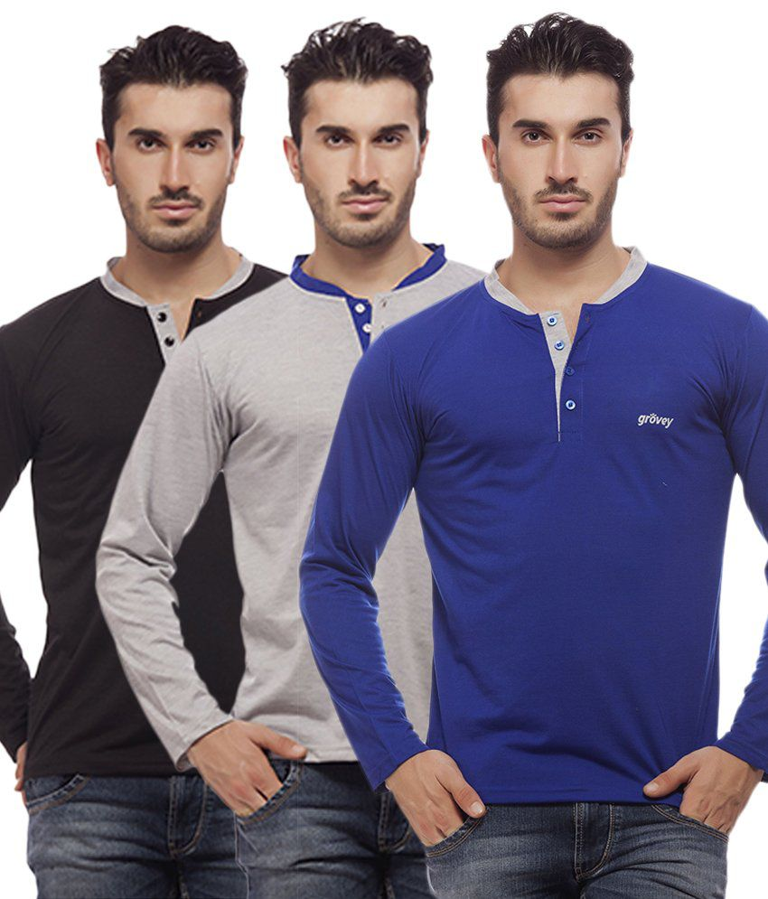 Grovey Multi Henley T Shirts Pack of 3