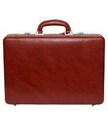 C Comfort Genuine Leather Expandable Briefcase Office Bag
