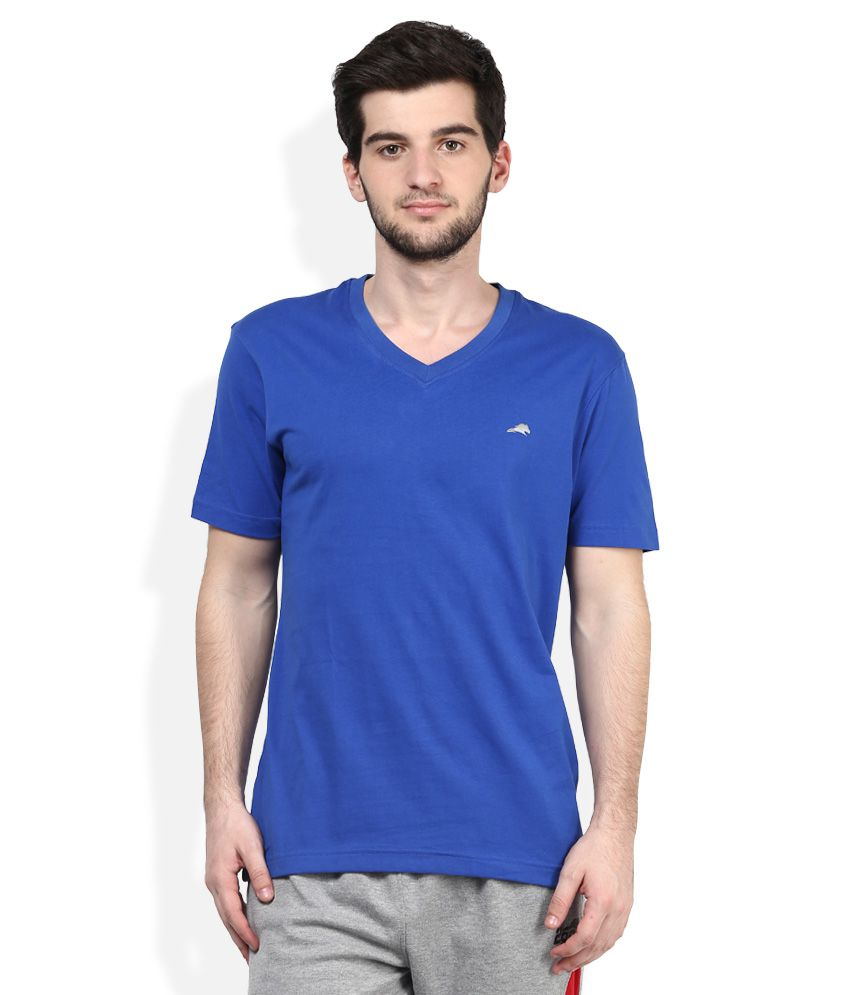 2go Blue V-Neck Solids T-Shirt
