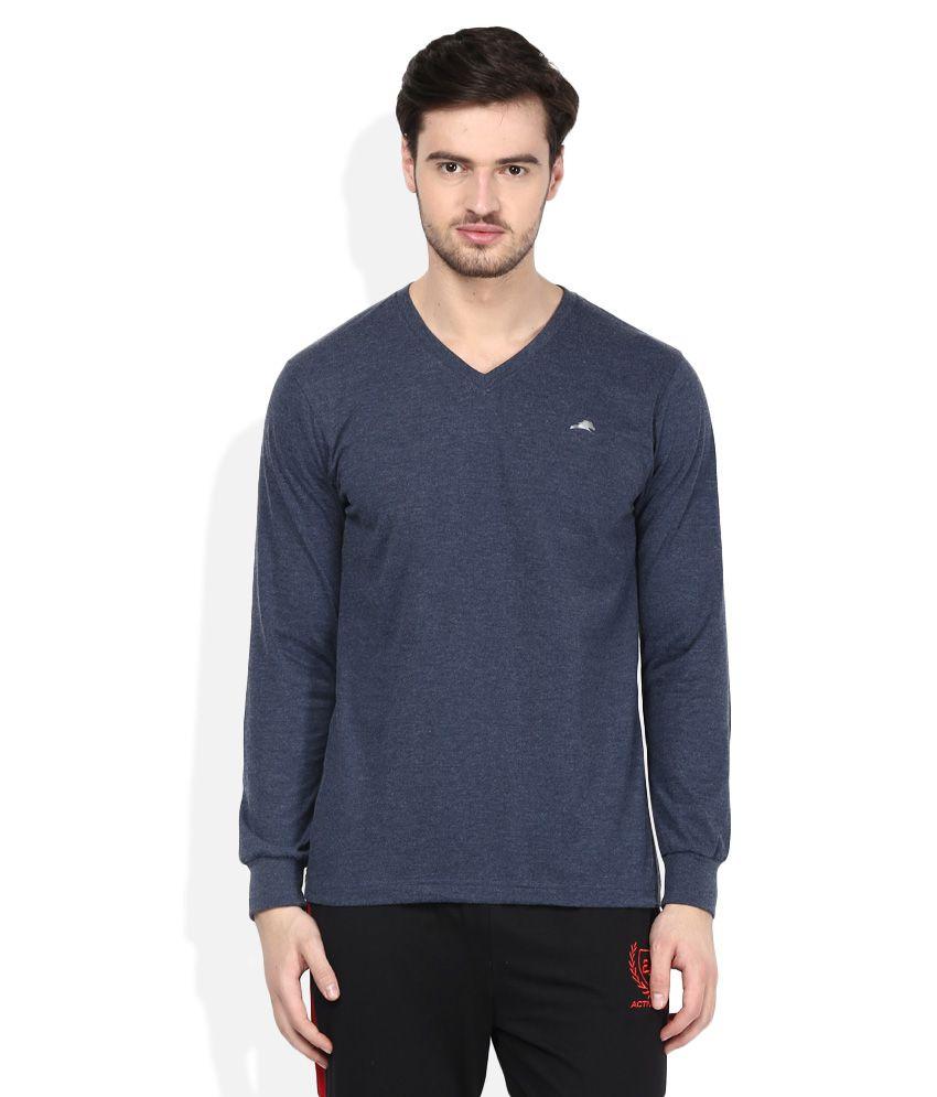 2go Blue V-Neck Solids T-Shirt