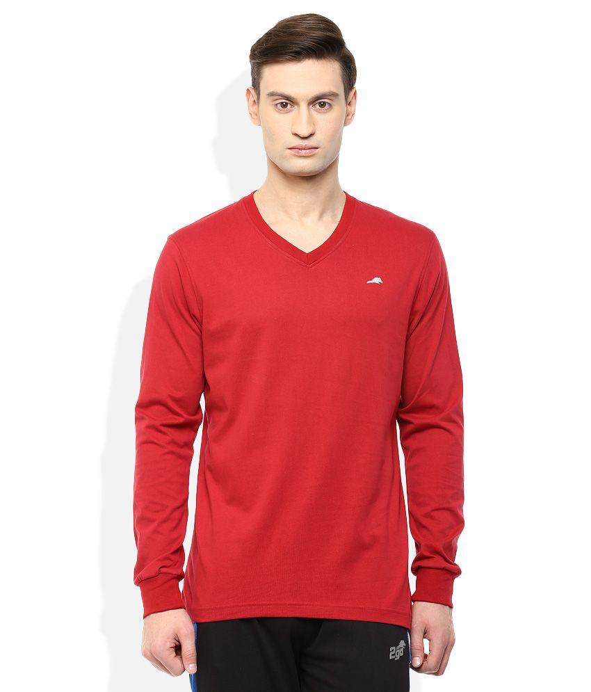 2go Red V-Neck Solids T-Shirt