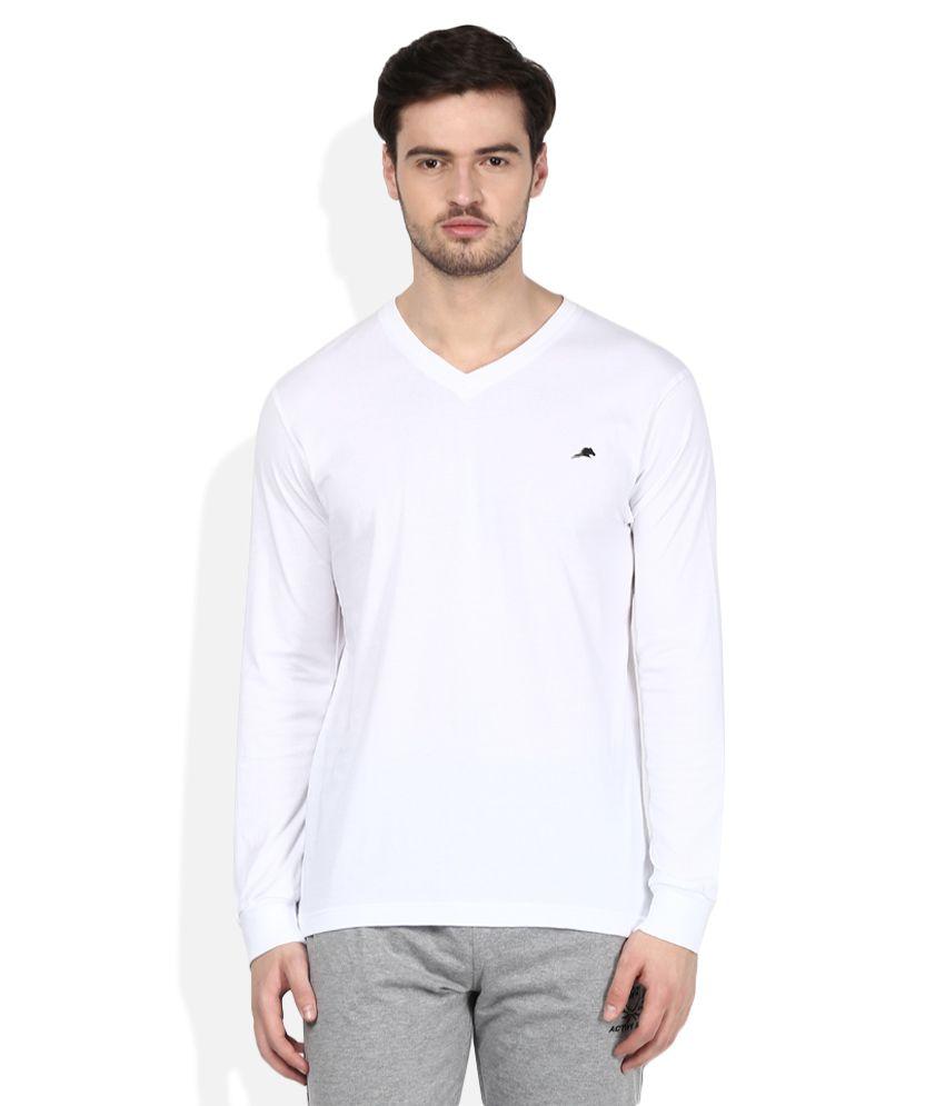 2go White V-Neck Solids T-Shirt