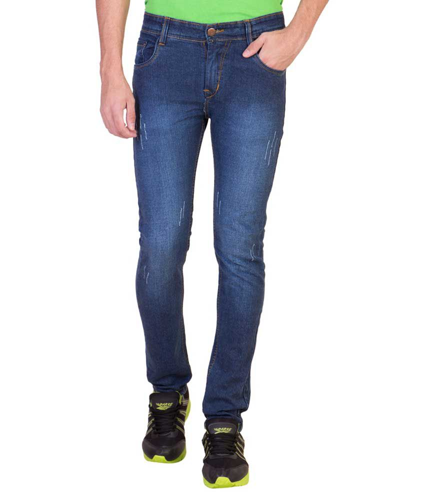American-elm Blue Slim Fit Faded Jeans Single