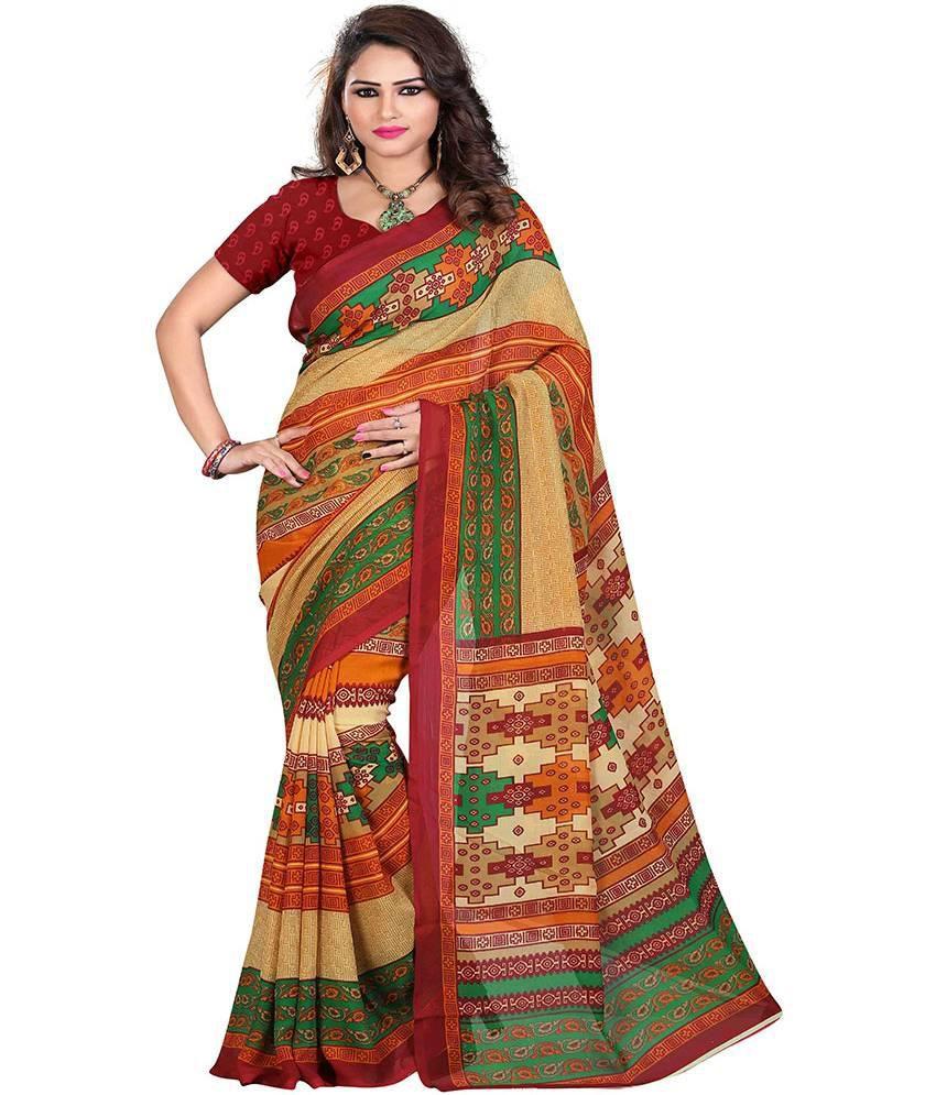 Ecoco Fashion Multi Color Cotton Silk Saree