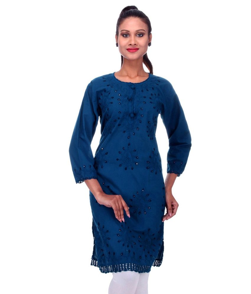 Fabrica International Blue Cotton Straight Kurti