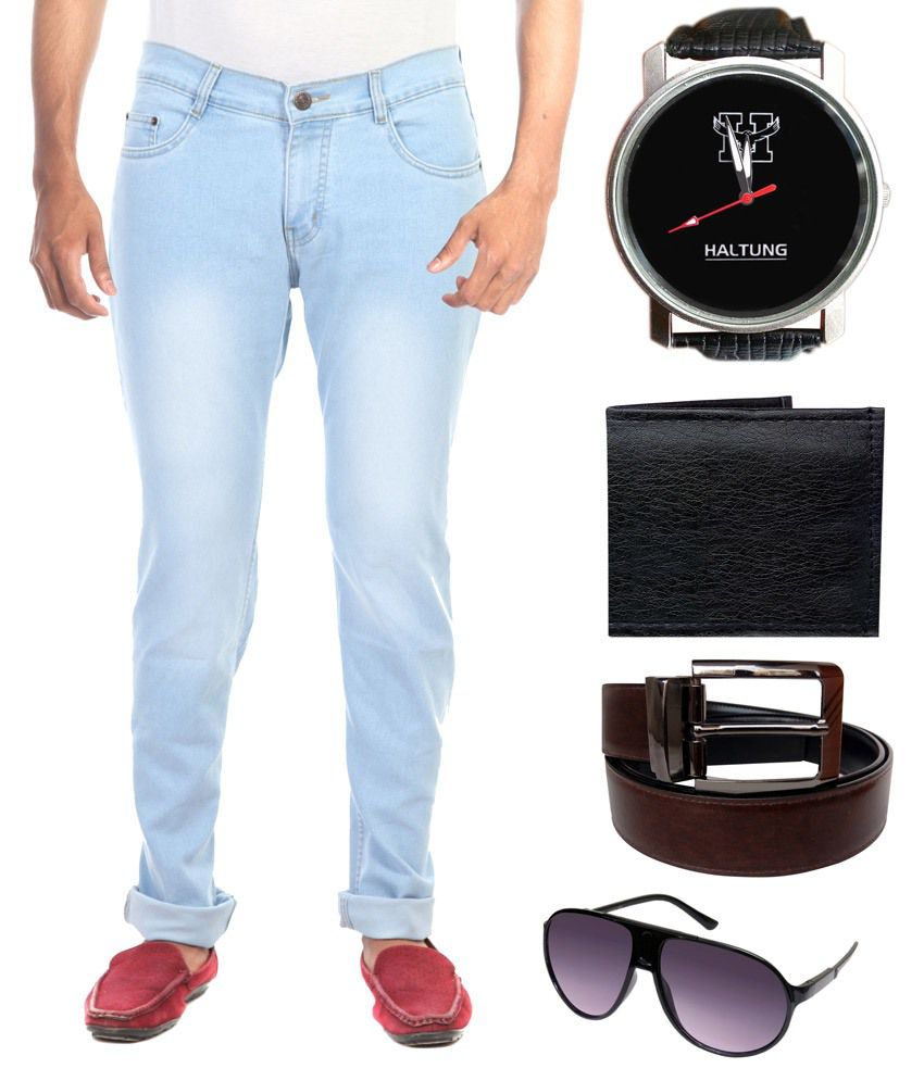 Haltung Blue Slim Fit Solid Jeans