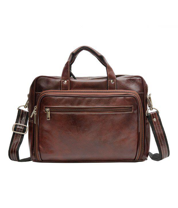 Amigo Brown Leather Laptop Bag