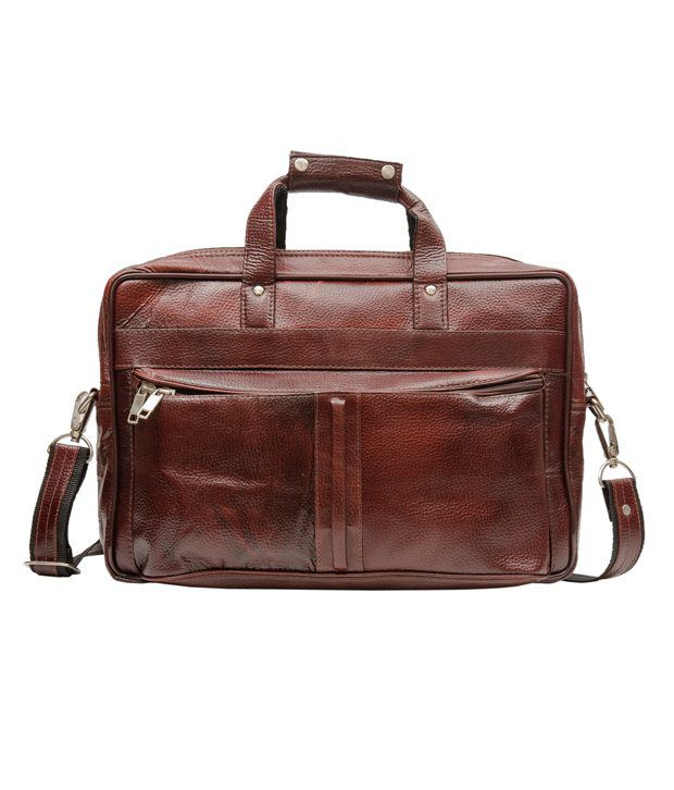 Amigo Brown Leather Laptop Bag
