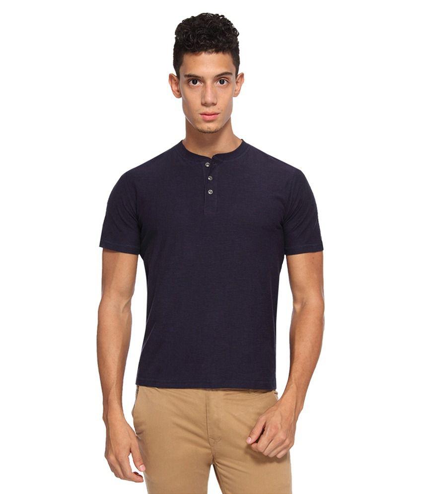 Arise By Beroe Navy Henley T Shirts