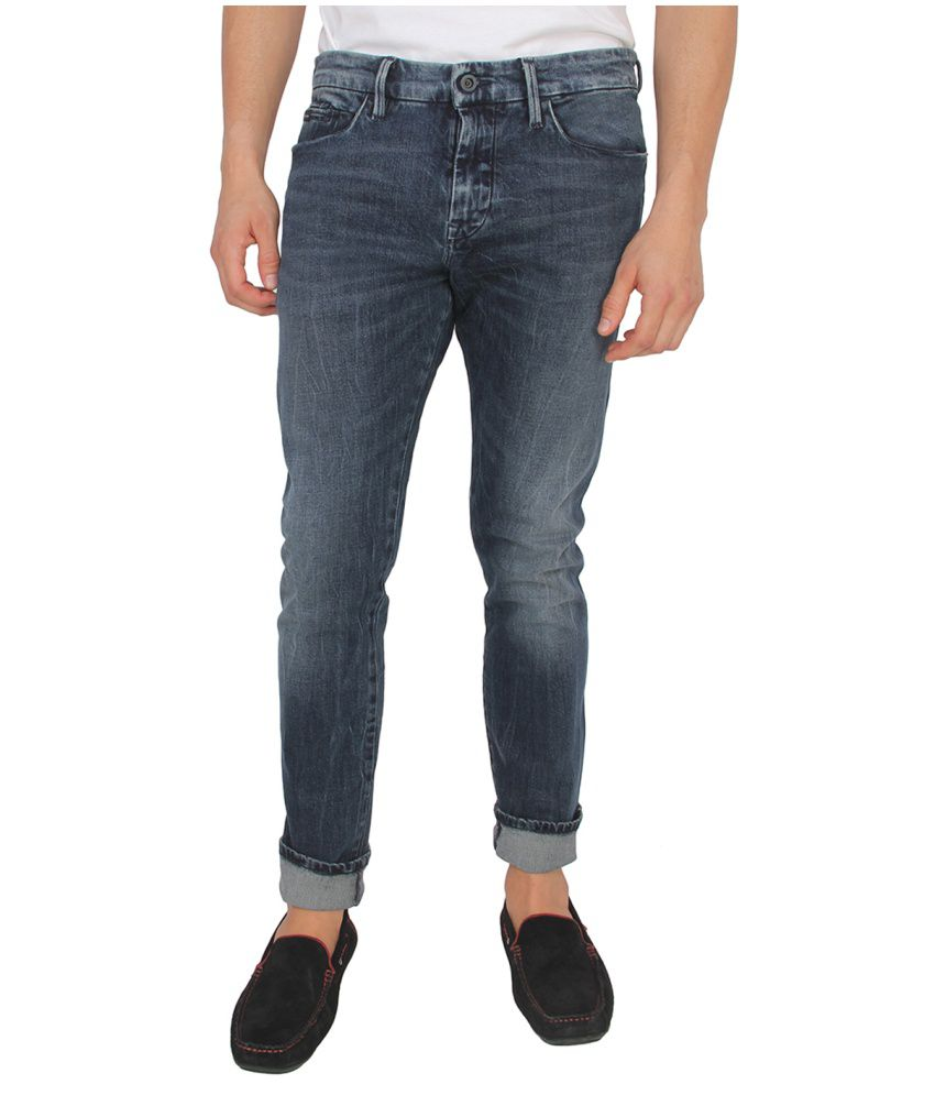 Calvin Klein Blue Skinny Fit Faded Jeans
