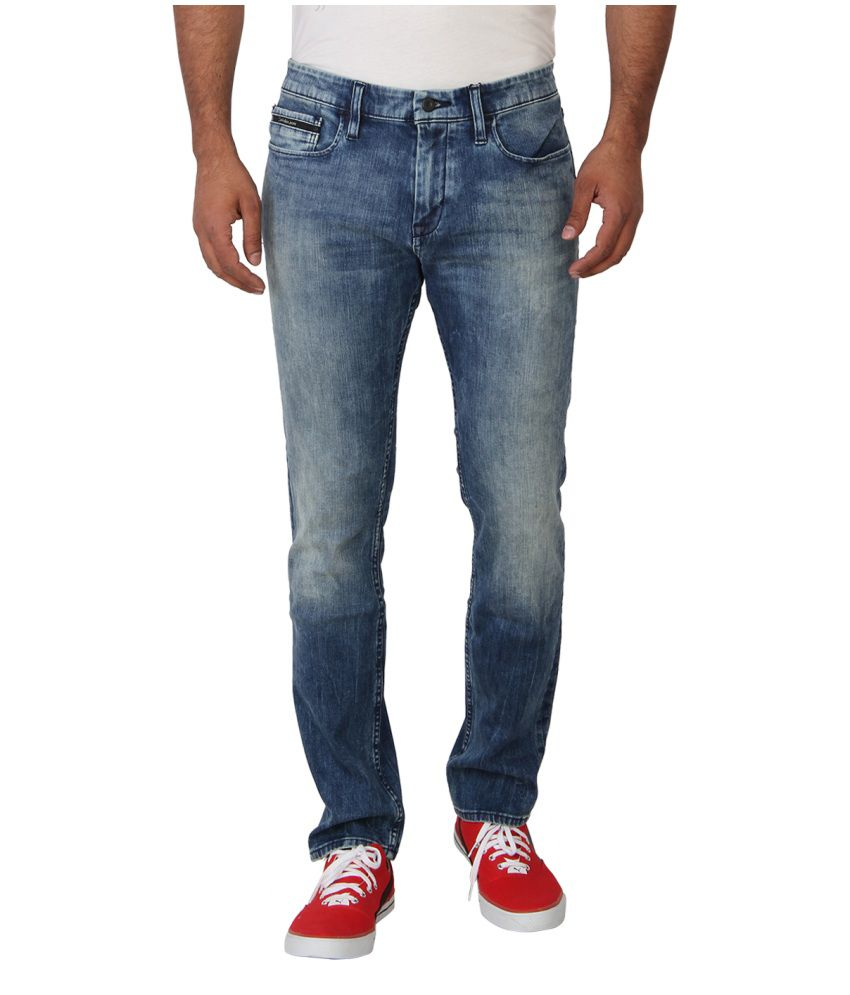Calvin Klein Blue Slim Fit Faded Jeans