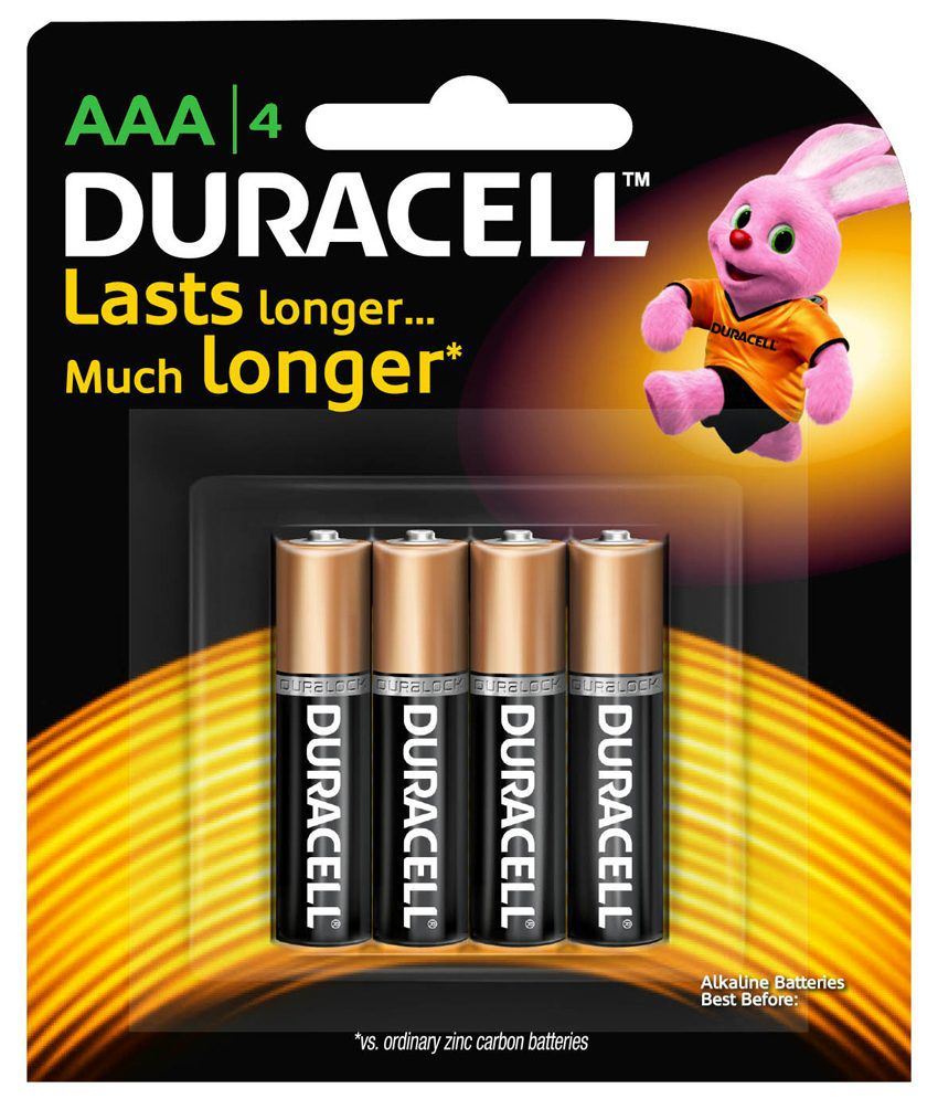 Duracell Alkaline Battery Aaa 4'S With Duralock Technology