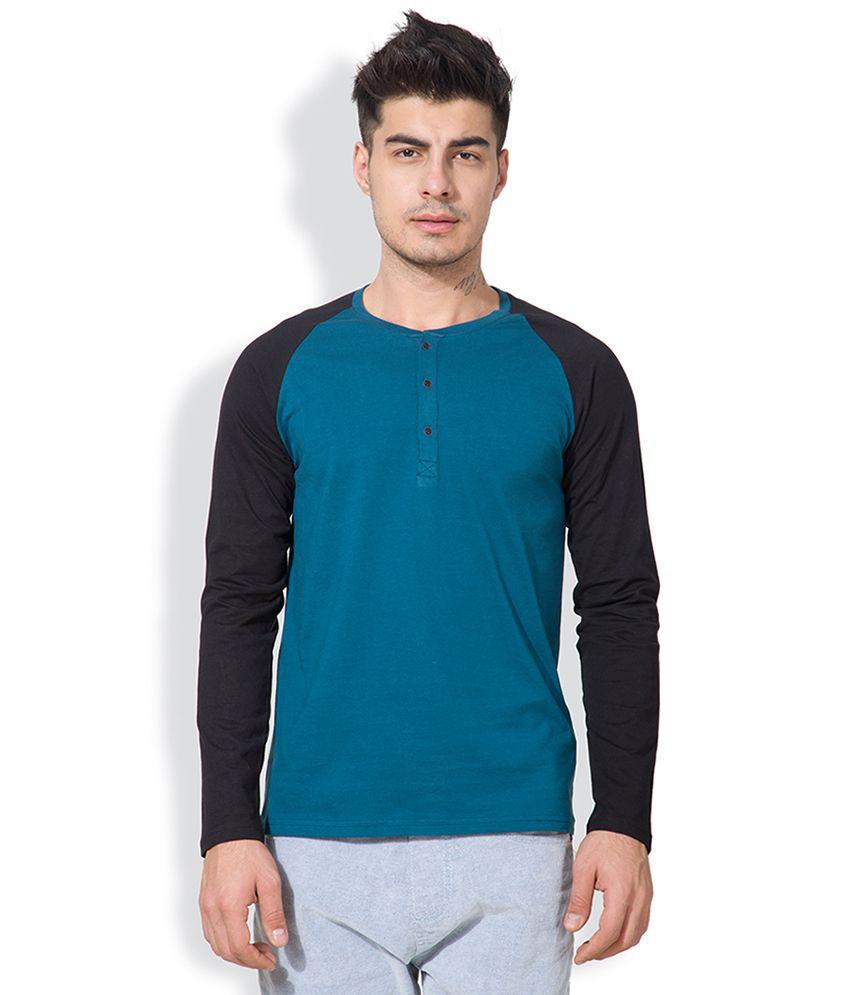 Highlander Blue Henley Neck T Shirt