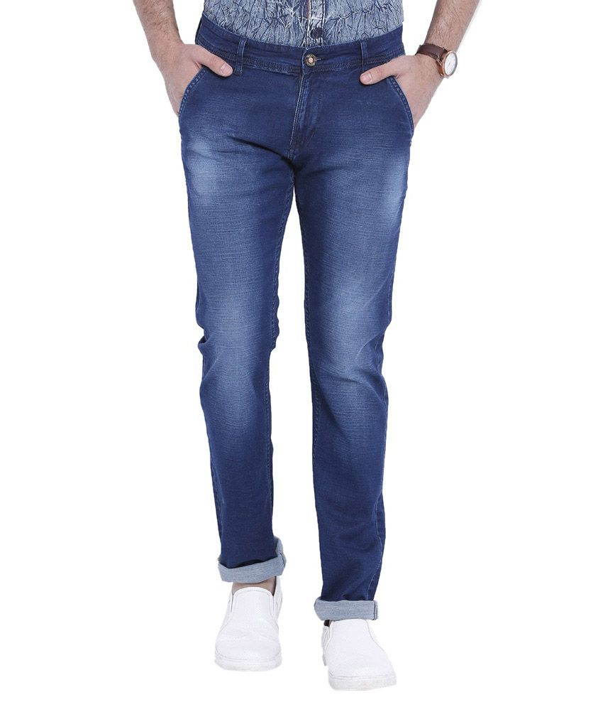 Vintage Blue Slim Fit Faded Jeans