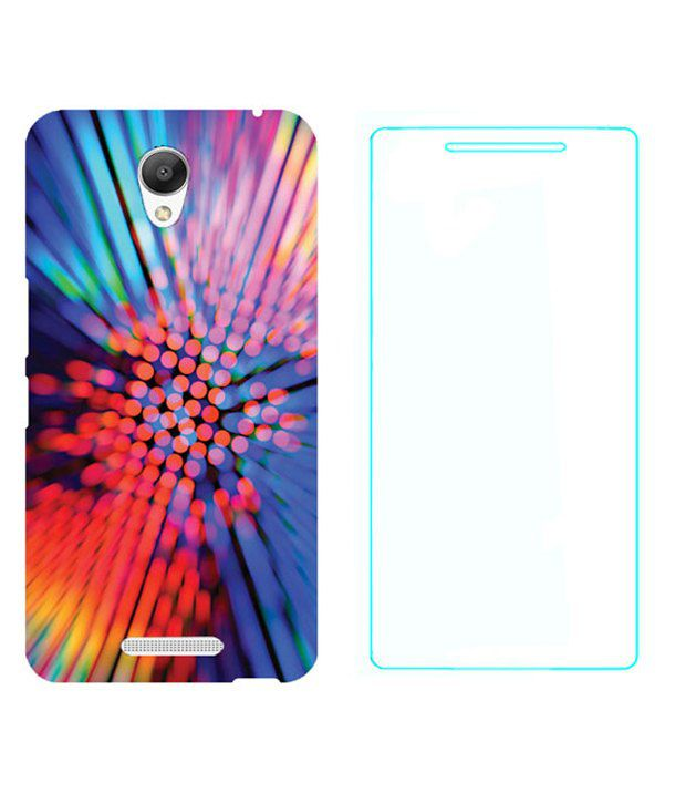 Treecase Printed Back Cover With Tempered Glass For Xiaomi Redmi Note 2 - Multicolor