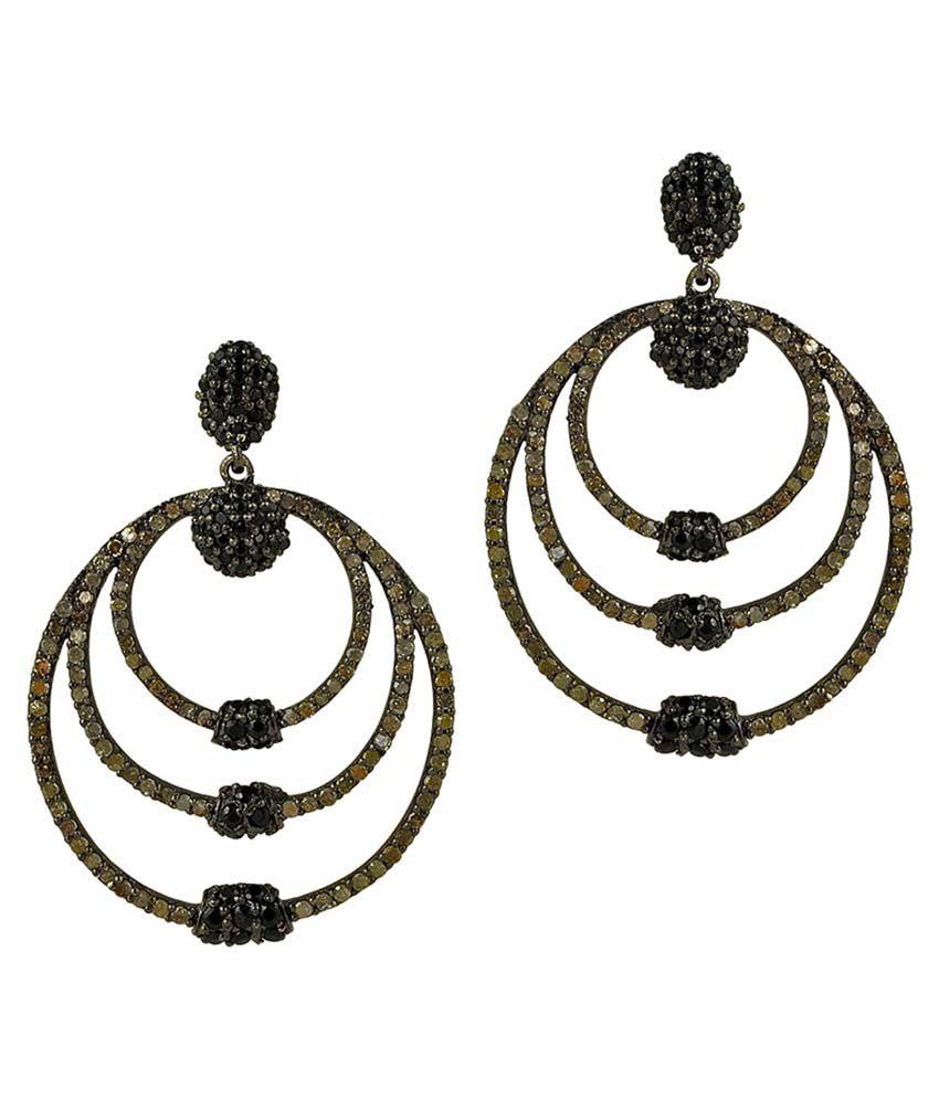Maya Jewels Jaipur Self Certified 92.5 Sterling Silver Hanging Earrings