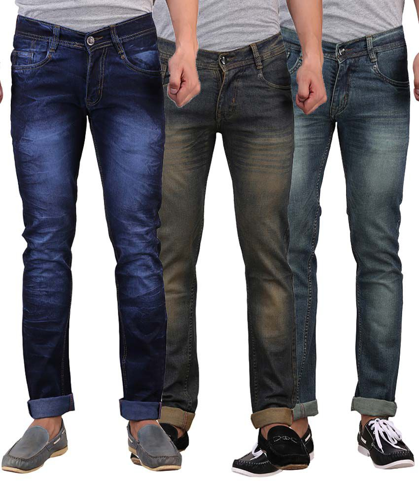 X-Cross Multi Slim Fit Faded Jeans Pack of 3