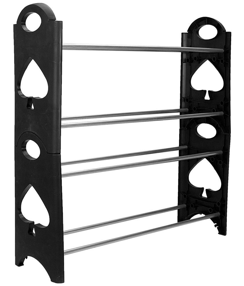 Home Creations Black And Silver Metal Shoe Rack Buy Home