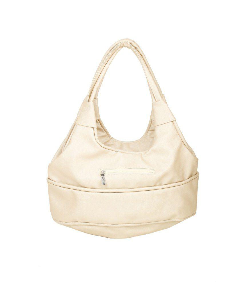 Lalji Enterprises Beige Faux Leather Shoulder Bag
