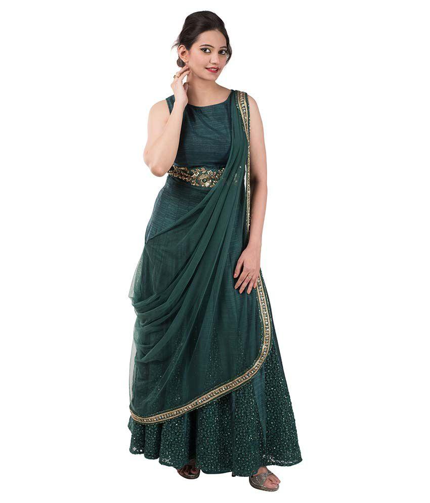 36ca22987dc21 Iqra Designer Green Silk Anarkali Gown Semi Stitched Dress Material ...