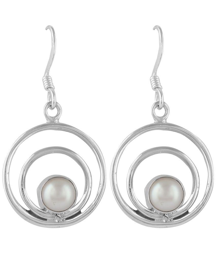 Zivah 92.5 Silver Pearl Drop Earrings