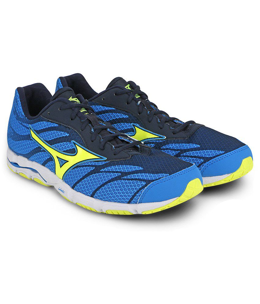 Mizuno Wave Hitogami 5 Running Shoes (Diva Blue / Safety Yellow / Dress  Blues) ...