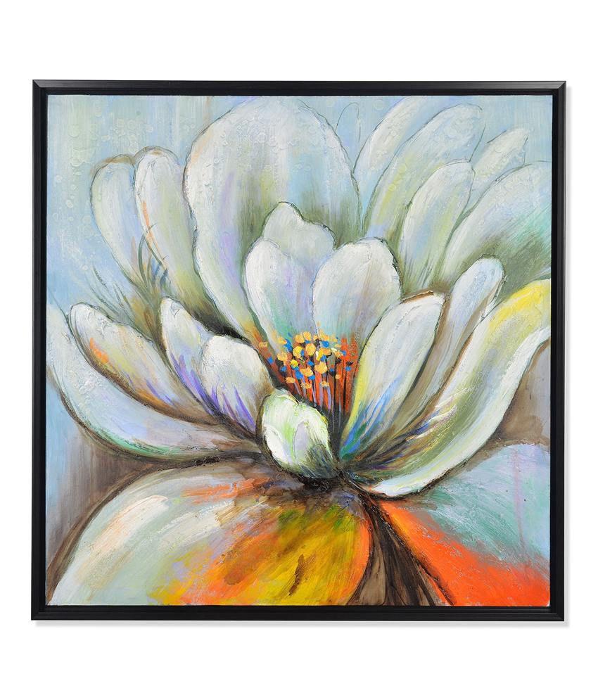 Nilkamal Green Flowering Canvas Painting