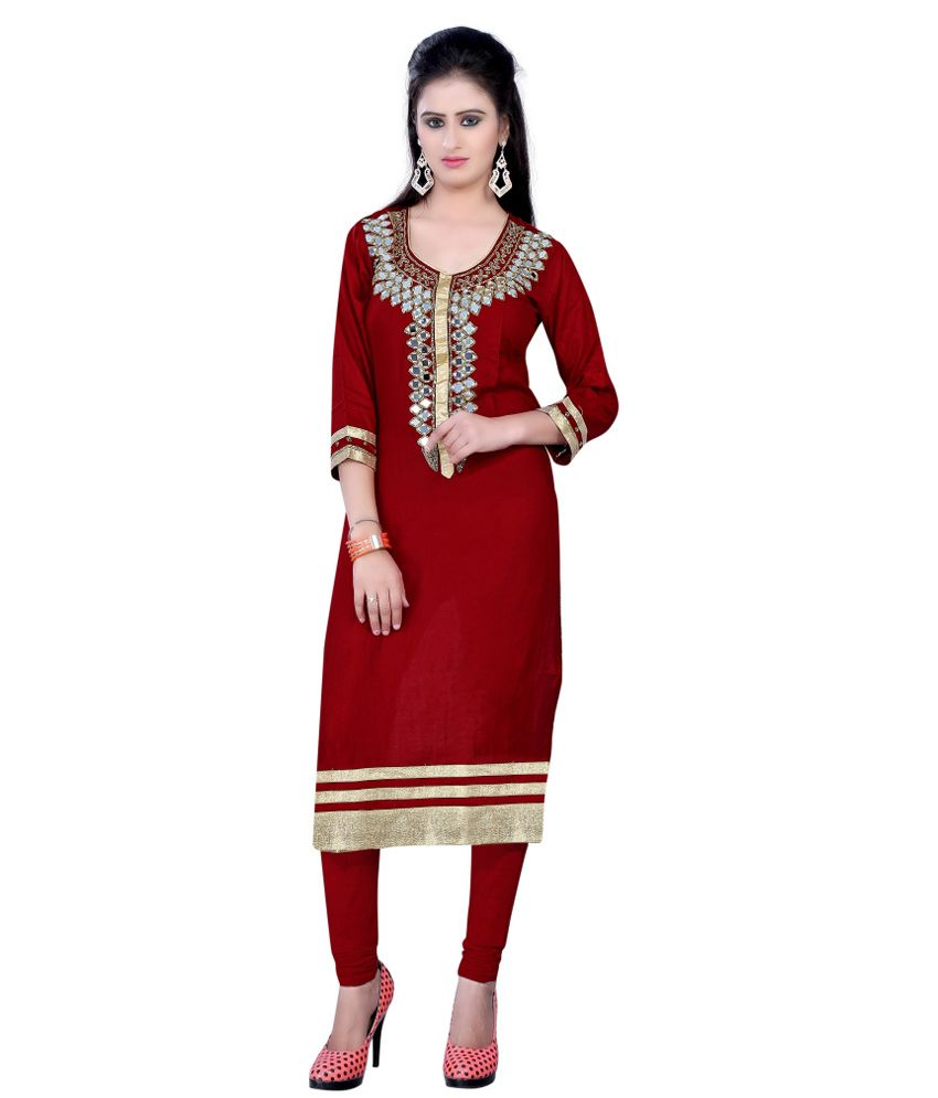 Zhenith Maroon Cotton Silk Straight Kurti