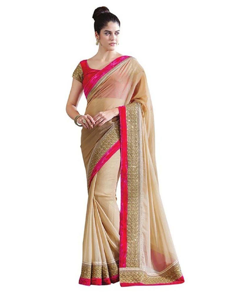 f54c85639 EthnicAndStyle Designer Sarees Beige Georgette Saree Price in India ...