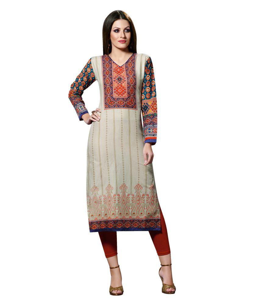 Awa Fashions Beige Cotton Straight Kurti