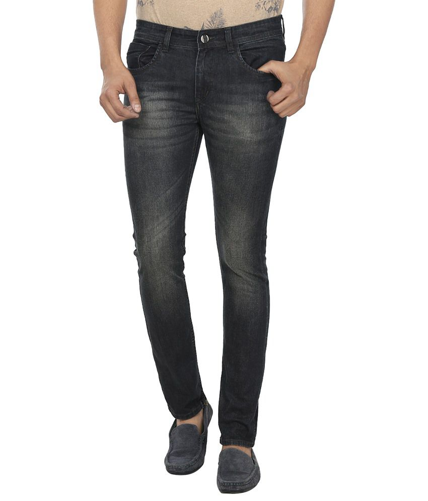 Fever Black Slim Fit Faded Jeans
